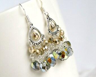 chandelier earrings, silver earrings, gifts for women, silver sparkles