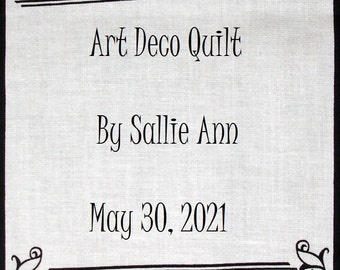 Quilt Label - Noir et Blanc #2, Custom Made and Hand Embroidered