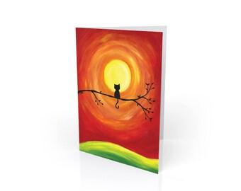 Sunset Kitty Blank Greeting Card & Envelope