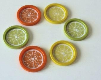 Vintage Coasters, Lemon Orange Lime, Plastic, USA
