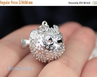 ON SALE Sterling Silver Puffer Fish Pendant Necklace