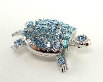 PELL Light Blue Rhinestone Turtle Brooch Signed