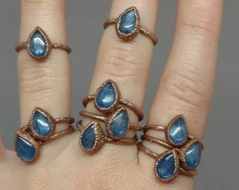 Blue Stone Ring - Electroform Ring - Stacking Ring - Unique Gifts - Kyanite Ring - Blue Kyanite - Kyanite Jewelry - Gemstone Teardrop