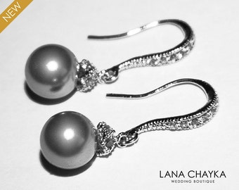 Grey Drop Pearl Earrings Sterling Silver CZ Grey Pearl Earrings Swarovski 8mm Grey Pearl Small Earrings Wedding Earrings Wedding Jewelry