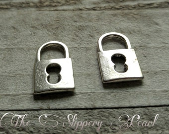 Lock Charms Lock Pendants Silver Lock Charms Steampunk Charms Steampunk Lock Silver Charms Keyhole Charms 25 pieces