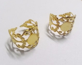 Ring Blanks Adjustable Rings Gold Filigree Brass Blanks Rings 5 Pieces