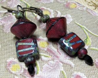 Scarlet Red Tribal Earrings. Red Picasso Earrings. Boho Polymer Clay Earrings. Handmade.