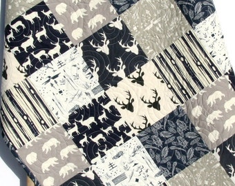 Baby Quilt Boy Deer Southwest Stag Woodland Birch Forest Bears Feathers Navy Blue Grey Modern Crib Bedding Toddler Bed Quilt Rustic Nursery