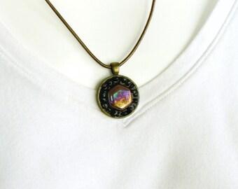 Dark red hexagon mosaic tile pendant bronze leather cord necklace