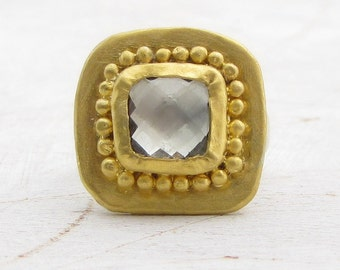 24k Sold Gold & Silver Ring - Green Amethyst Gold Ring -  Gemstone Gold Rind - Statement Ring
