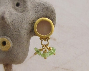 Rose Quartz & Peridot Earrings - 24k Gold Studs - Fine Gold Post Earrings - Rose Quartz Gold Post Earrings