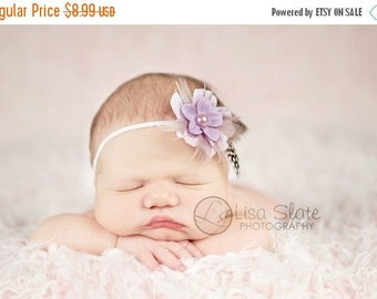 10% off SALE Baby headband, newborn headband, adult headband, child headband and photography prop The Purple Gwendolyn feather headband or c