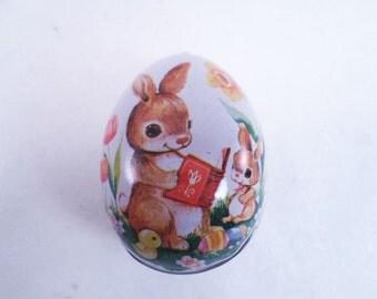 Tin Easter Bunny Egg Vintage 1981