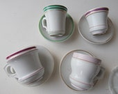 RESERVED FOR LAUREN 4 Antique French Bistro Cups  Authentic Heavy Cups with Saucers Brulot