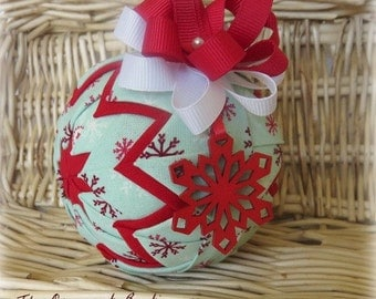Quilted Christmas Ornament handmade ornament fabric ornament
