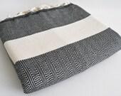 SALE 50 OFF/ Herringbone Blanket / Black / Bedcover, Beach blanket, Sofa throw, Traditional, Tablecloth