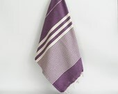 SALE 50 OFF / Turkish Beach Bath Towel / Classic Peshtemal / Purple / Wedding Gift, Spa, Swim, Pool Towels and Pareo