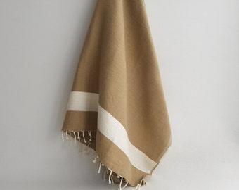 SALE 50% OFF/ Turkish Beach Bath Towel Peshtemal / Soil Color / Wedding Gift, Spa, Swim, Pool Towels and Pareo