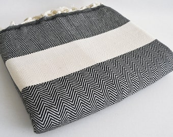 SALE 30 OFF / Herringbone Blanket / Black / Bedcover, Beach blanket, Sofa throw, Traditional, Tablecloth