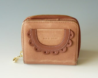Authentic See by Chloe Poya Dusty Rose Leather Bifold Wallet