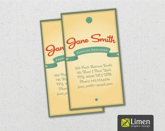 Digital Vintage Style Business Card, Printable Business Cards, Vintage Card, Vintage Business Card Design, Retro Business Card, Retro Card