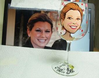 Caricature Personalized Glasses Portrait Cartoon  Likeness Hand Painted Wine Glasses