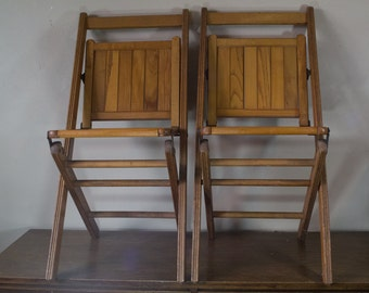 Pair of Antique Wooden Folding Chairs