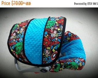 Summer SALE Marvel super hero infant car seat cover- Custom Order by Baby Seat Covers By Jill - always comes with free strap covers