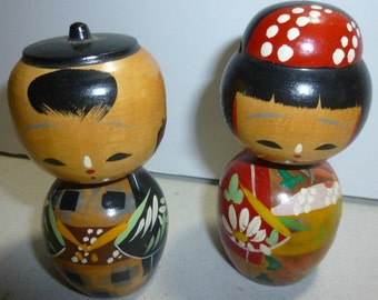 Pair of Vintage Japanese Kokeshi Dolls, 1950s