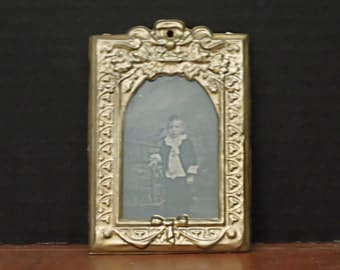 Antique Victorian Silver Tin Embossed Picture Frame / Antique Photo / Ambrotype / Daguerreotype  Pressed Metal Frame