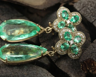 25.01tcw Natural Colombian Emerald & Diamond Chandelier Custom Earrings 14K, Emerald Chandelier Earrings, Emerald Drop Dangle Earrings