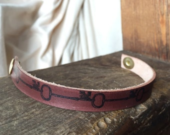 Leather Cuff - Vintage Key Cuff - Brown Leather Cuff - READY TO SHIP