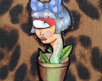 Weird Planter Tattoed Cyclops Girl w Hair Bow collectible art sticker