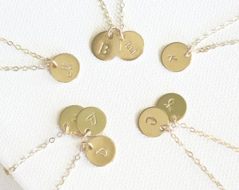 Tiny Personalized Disc Jewelry, 1 2 3 4 5 6 7 8 Initial Discs Necklace, 14k Gold FIll, Initial Disc Necklace, Monogram Necklace, Best Friend