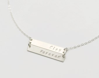 Personalized 2 3 4 Sterling Silver Bar Nameplate Necklace, Multiple bar Necklace Family Necklace, Children's Name Necklace, Christmas Gift