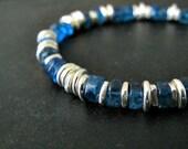 Raw Apatite Bracelet | Blue Apatite Heishi | Natural Gemstone Jewelry | Sterling Silver Jewelry