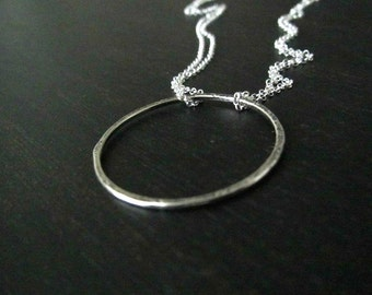 Infinity Necklace | Circle Pendant | Sterling Silver Modern Jewelry | Hammered Circle Necklace | Eternity Necklace | Minimalist Jewelry