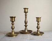 Vintage Brass Candlestick Holders | Solid Brass Candlesticks | Instant Collection Set of 3 | Brass Mantel Decor