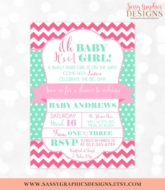 Girl baby shower invitation oh baby its a girl pink mint chevron il570xn filmwisefo Gallery