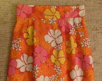 1960s Mod Flower Power,  Mad Men Skirt . Bright Spring Skirt . Hippy Easter!