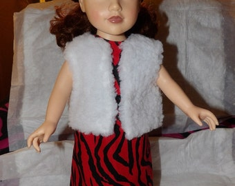 Handmade white faux fur chubby vest for 18 inch dolls - ag268