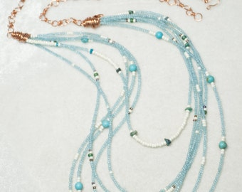 """Pale Blue Draping Bib Necklace of Vintage Venetian Seed Beads Turquoise nuggets copper chain - Series 6 """"Melting of Snow"""" - Art Jewelry"""