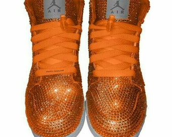 Custom Nike Shoes, Nike  Swarovski Shoes, Rhinestone Nikes, Orange crystal Nike Shoes, Trisha Paytas  Nike Shoes, Nike Crystal Shoes