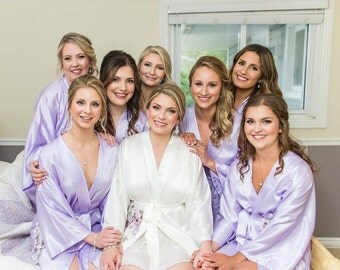 Bridesmaid robes LAVENDER PURPLE wedding robe bridesmaid silk robe dressing gown personalized silk robe kimono robe floral robe bridal robe