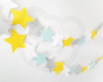 Baby Boy Star Garland - made with wool blend felt in modern lullaby calm tones, perfect for baby room or kids room
