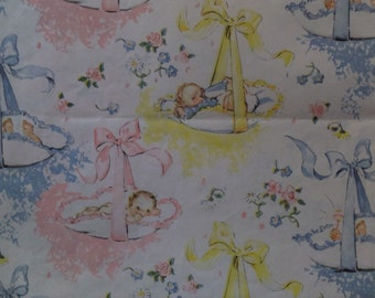 Vintage Pink Blue Yellow Newborn Babies Baby Shower Gift Wrap Wrapping Paper