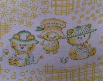 Charming Vintage Baby Nursery Tiger Bear Chick Chicken Cotton Fabric