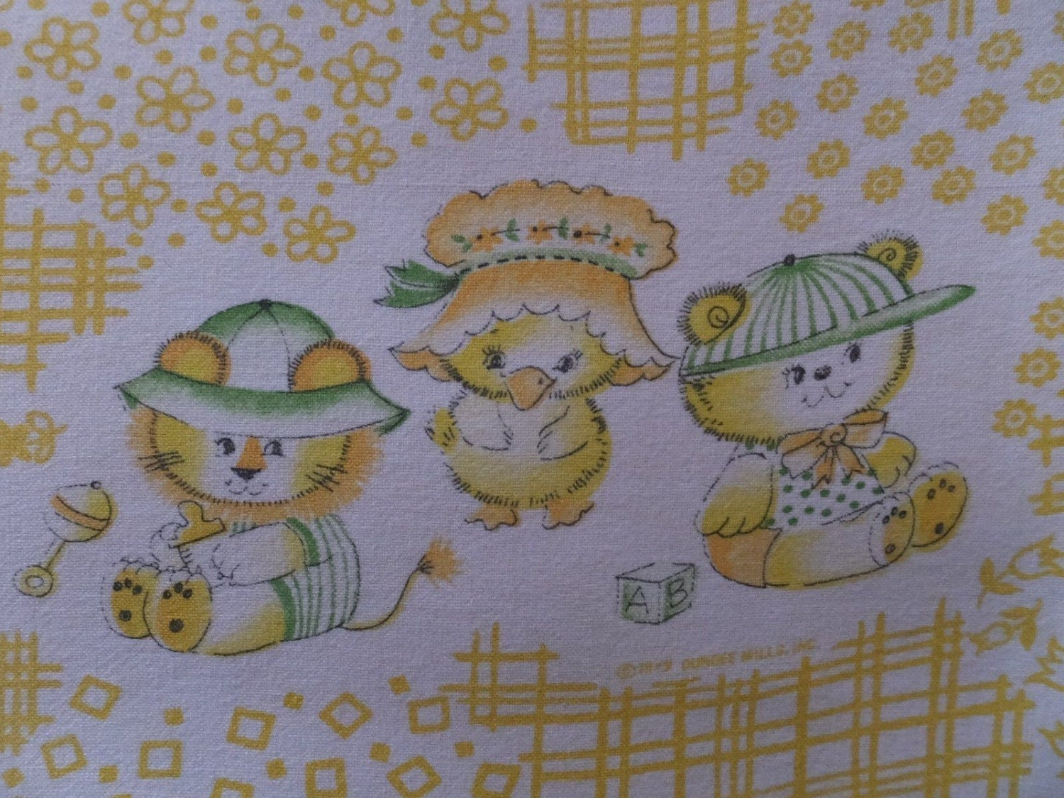Charming vintage baby nursery tiger bear chick chicken for Retro baby fabric