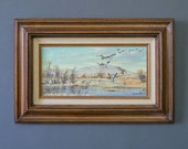 Vintage Oil Painting - Winter Landscape Painting - Robert Thomas Original Artwork - Oil on Canvas Nature Painting - Framed Painting