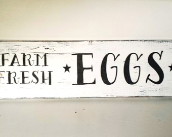 Farm Fresh Eggs -Shabby Chic Barn/Pallet Hand Painted Rustic custom Reclaimed wood sign distressed home decor / Love/wedding gift/ signs